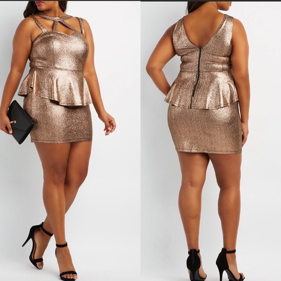 e5a0886aa0c Plus Size Shimmer Caged Peplum Dress Gold NWT 2X