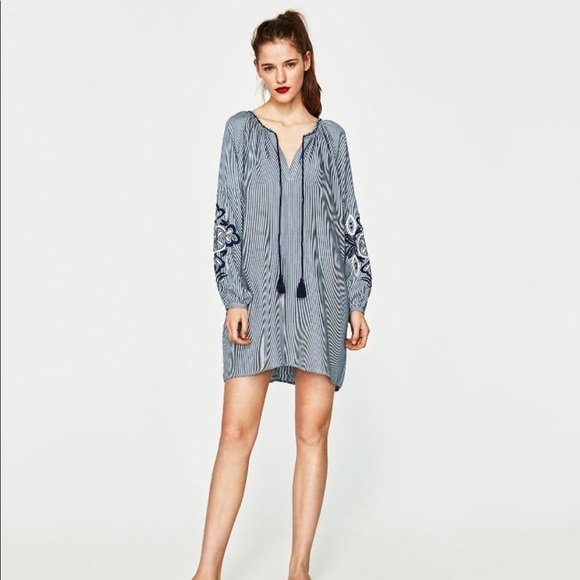 0e2322ed Zara Dresses   Boho Embroidered Tassel Tunic Dress   Poshmark