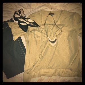 Olive Green Surplice Simple Be Top