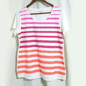 Coldwater Creek neon sequin Striped tee pink ombre