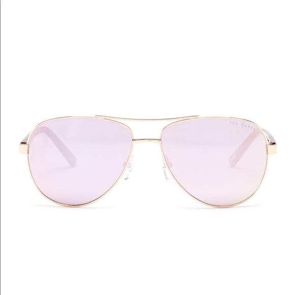 2b9bd855b9434 Ted Baker Rose Gold Mirror Lens Aviator Sunglasses