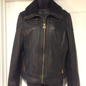 Michael kors genuine leather moto aviator jacket
