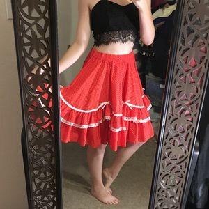 FUN Vintage Red Polka Dot Swing Skirt
