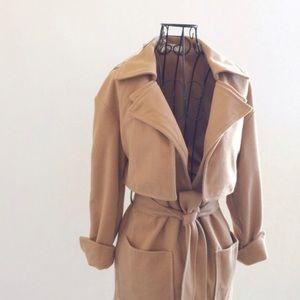 Jackets & Blazers - Soft Camel Coat with Belt