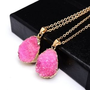 Jewelry - 18K Gold Raw Druzy Pink Crystal Necklace