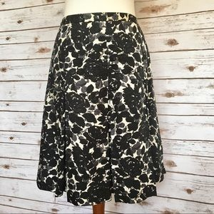 J. Crew Black & Gray Floral Silk Skirt Sz 10
