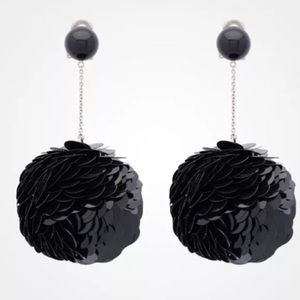 NIB Prada sequin clip on earrings black