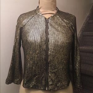 Gold and black sequins blazer