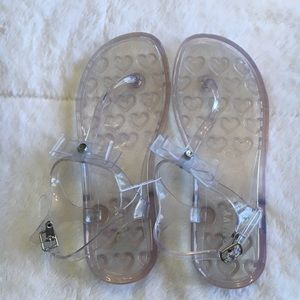 """Clear """"jelly"""" t-strap sandals, girls size 3"""