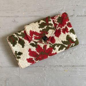 VINTAGE red floral tapestry wallet