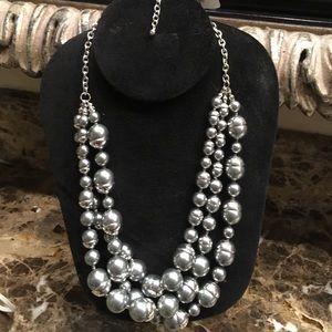"""Jewelry - 24"""" silver grey toursade three strands w/3""""drop"""