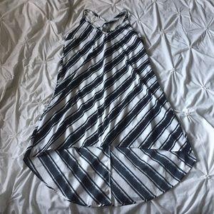 H&M Black & White Striped High Low Keyhole Dress