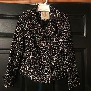 Leopard/Cheetah print winter pea coat jacket