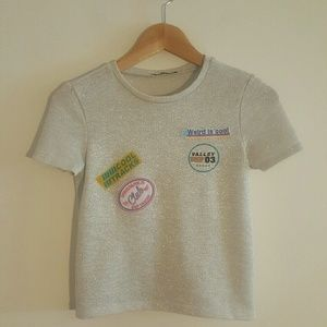 Silver sparkle shirt with patches