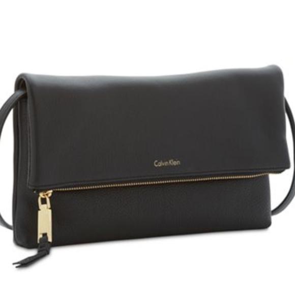 3c5c6bb55958 Calvin Klein Handbags - Calvin Klein Pebble Medium Foldover Crossbody