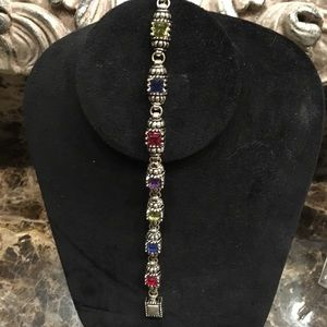 "Jewelry - 8"" Multi color stones ,Silvertone magnetic clasp"