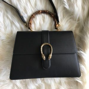 Gucci dyonysus black leather bamboo handle purse