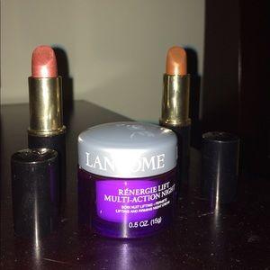 Lancome Renergie night cream and 2 lipsticks