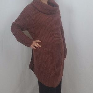DREAMERS RUST COWL NECK LONG SWEATER