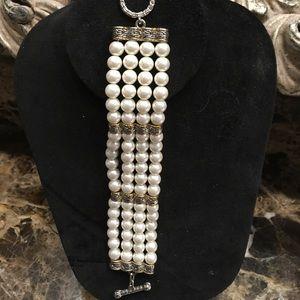 """Jewelry - 8"""" lead free 4 strands of pearl like bracelet"""