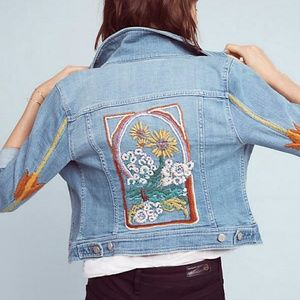 Pilcro Embroidered Denim Jacket NWT XS