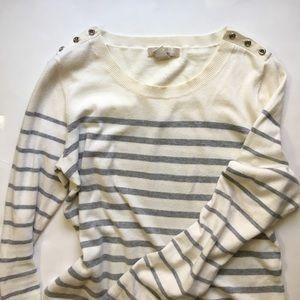 Banana republic white and Grey stripe sweater
