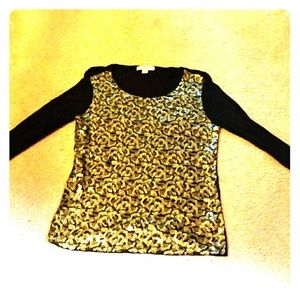 BLACK & GOLD SEQUINS TOP