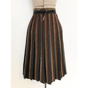 Vintage 50's Striped Pleated Wool Skirt