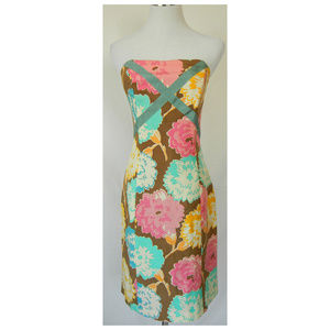 TRACY REESE Silk Floral Strapless Sheath Dress
