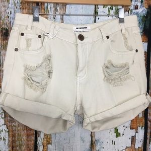 One Teaspoon Stone Chargers Destroyed Denim Shorts
