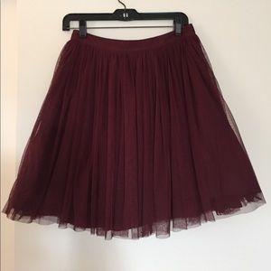 Maroon Tulle Holiday Skirt