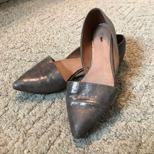 Madewell taupe shimmery flats