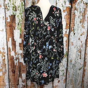 Parker Split V Neck Dress Black Floral Peasant