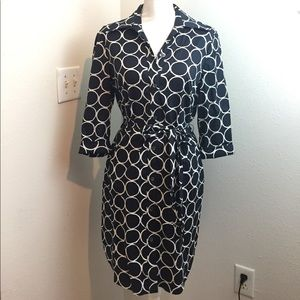 Trina Turk Dark Navy & White Pattern Shirt Dress