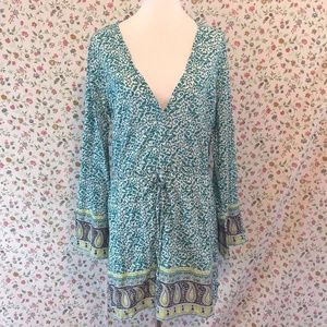 Athleta Laguna Coverup Green Paisley Boho Hippy