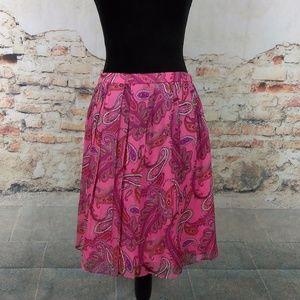 J Crew 6 Double-Pleated Silk Pink Paisley Skirt