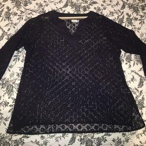 Liz Claiborne Lace Navy Top 2X