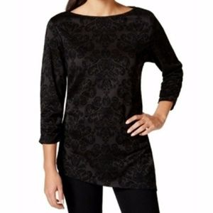 Style & Co. Sparkle Flocked Glitter Top