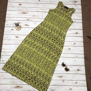 Cynthia Rowley Lime Green Brown Boho Maxi Dress L