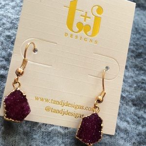 🌷HP🌷PURPLE DRUZY EARRINGS NWT