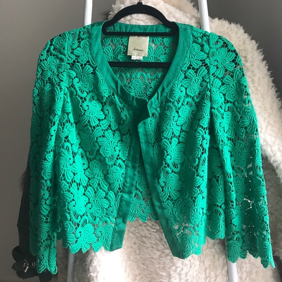 67% off Anthropologie Sweaters - Green lace cardigan from Doniya's ...