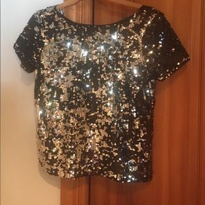 Milly Black sequent short  sleeve top