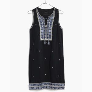 madewell embroidered suncoat shift dress