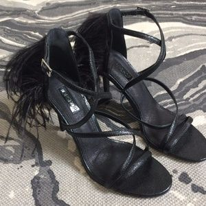 Topshop Roxana black feather strappy heels NEW