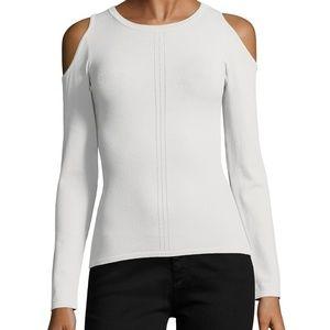 Autumn Cashmere Cold Shoulder Pointelle Sweater