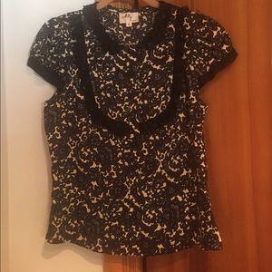Milly silk cap sleeve blouse
