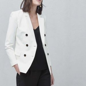 MANGO white double breasted blazer