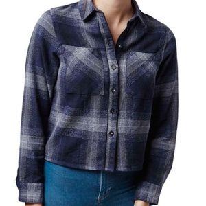 Topshop Herringbone Check Shirt Top Navy Size 0