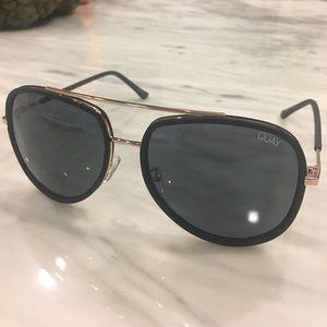 Quay Black and Rose Gold Aviator Sunglasses