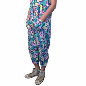 Vintage 90s Floral Romper Jumpsuit in Soft Cotton